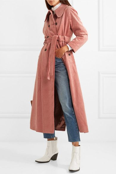 pretty cool fashion style official images ALEXACHUNG - Cotton-blend corduroy trench coat in 2019 ...