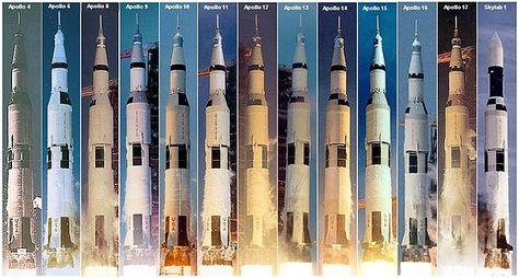 Saturno V - veículos e lançamentos.