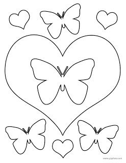 Butterflies And Hearts Coloring Page Heart Coloring Pages