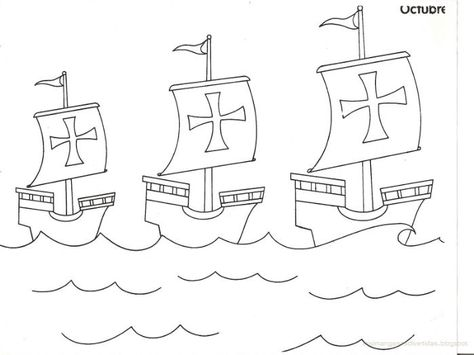 Las Tres Carabelas De Cristobal Colon Dibujo Carabelas De