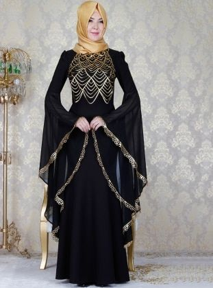 Black Fully Lined Crew Neck Muslim Evening Dress In 2020