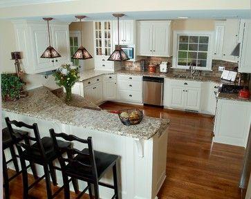 Kitchens Slate Appliances And Off White Cabinets | Giallo Napoleon Granite  Design Ideas, Pictures, Remodel, And Decor | Home Remodel | Pinterest |  White ...