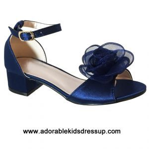 943d8b961da1 little girls high heel shoes. navy blue block heels with a complementary  flower on the toe strap. Block heels in toddler and children sizes