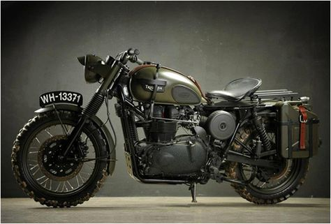 """Custom made Triumph - """"La Grande Fuga"""" (Great Escape) by Italian custom shop owned Dino Romano of Drag & Racing - suicide shift on the left, the exhaust has been cannibalized from an Iveco van, and the seat is a genuine 1939 Harley-Davidson item and authentic 60 year old matt green paint."""