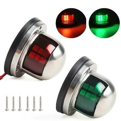 2x Red+Green Marine Boat Yacht Pontoon Stainless Steel LED Bow Navigation Light