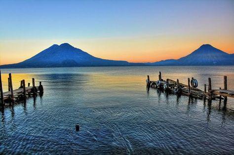 Panajachel, Guatemala, Atitlan, deepest lake in Central America, Sierra Madre volcanoes