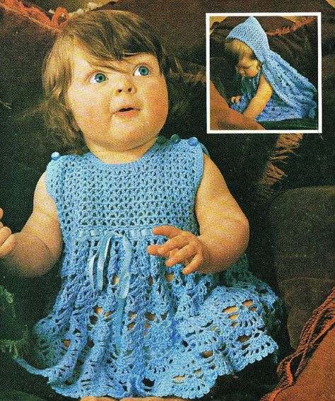 Baby Cape And Dress Set Vintage Baby Crochet Pattern Pdf Instant