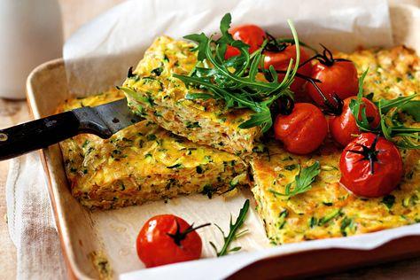 Zucchini and sweet potato slice http://www.taste.com.au/recipes/31407/zucchini+and+sweet+potato+slice