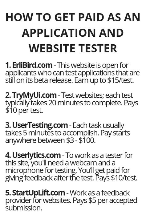 How To Get Paid As An Application And Website Tester