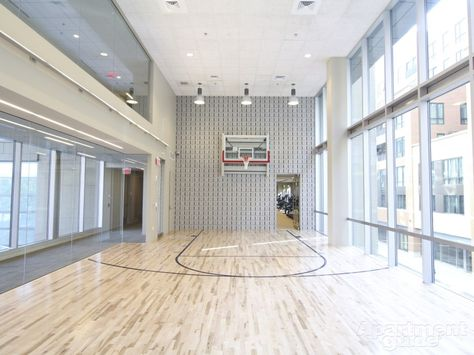 An Indoor Basketball Court Is The Best Amenity For Those Who Love Sports And Any Kind Of Competition Get Home Basketball Court Cool Apartments Basketball Room
