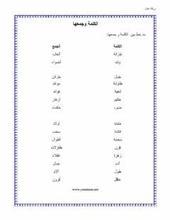ورقة عمل مفرد جمع Language Arabic Grade Level 2 School Subject لغة عربية Main Content املئي الفراغ Other Contents Arabic Kids Worksheets Workbook
