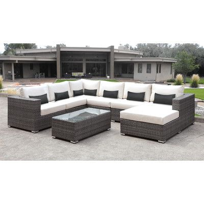 Shop On The Web Lusso 7 Piece Sectional Seating Group With Cushion By Solis Patio Furniture Homefu Rattan Outdoor Furniture White Toss Pillows Patio Cushions
