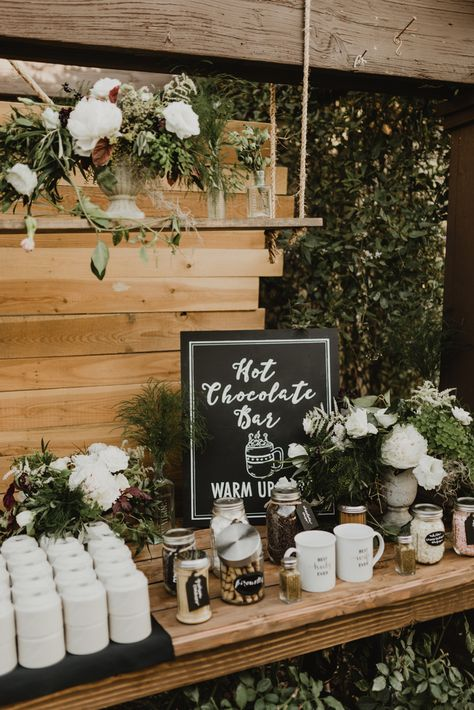 18 Perfect Wedding Drink Bar and Station Ideas for Fall Weddings - Oh Best Day Ever boho chic wedding drink station ideas Winter Wedding Decorations, Wedding Themes, Winter Wedding Drinks, Winter Wedding Cakes, Winter Weddings, Winter Themed Wedding, Wedding Bonfire, Wedding Crafts, Winter Engagement Party