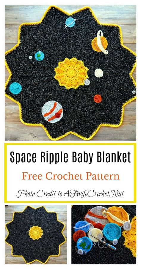 Crochet Afghans Space Ripple Baby Blanket Free Crochet Pattern - Round ripple afghans are unique in many ways. Here are a couple of Round Ripple Afghan Baby Blanket Free Crochet Pattern for you to make them. Crochet Afghans, Afghan Crochet Patterns, Baby Blanket Crochet, Baby Patterns, Knitting Patterns, Crochet Blankets, Baby Afghans, Crochet Blanket Stitches, Baby Blanket Knitting Pattern Free