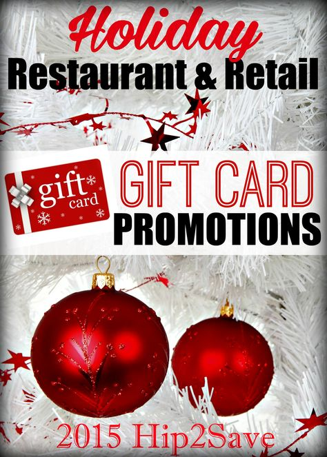 2015 Holiday Restaurant Retail Gift Card Promotions Money Saving