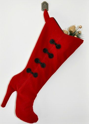 Christmas Stocking Red High Heel Boot Christmas Stocking