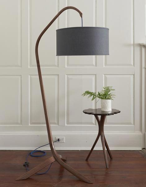 Handmade Steam Bent Walnut Standing Arc Lamp With Linen Shade