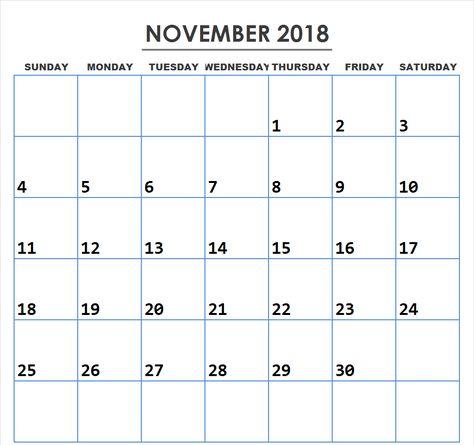 2018 November Calendar PDF 999+ Unique November 2018 Calendar