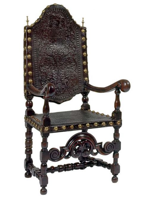 Spanish Walnut And Tooled Leather Armchair 17th Century The High Arched Back And Seat Covered In Clo Leather Armchair Spanish Furniture Renaissance Furniture