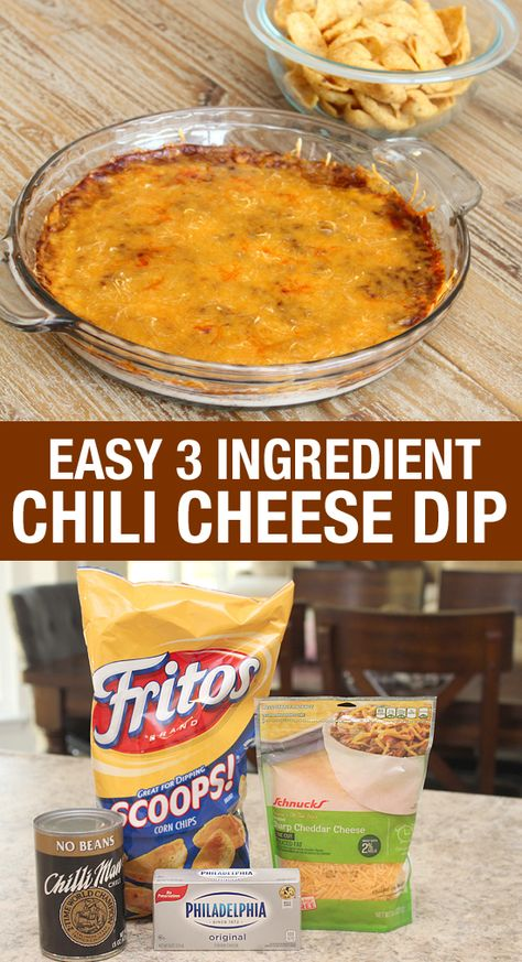 ONLY 3 INGREDIENTS! Super easy chili cheese dip recipe.