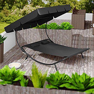 Tectake 2 Places Bain De Soleil Chaise Longue De Jardin Transat Avec Pare Soleil 2 Coussins Diverses En 2020 Chaise Longue Jardin Meuble Angle Ikea Meuble A Donner