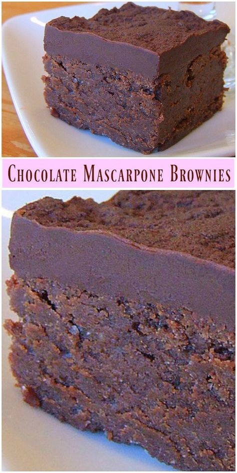 Chocolate Mascarpone Brownies recipe from You can find Sweets treats and more on our website.Chocolate Mascarpone Brownies recipe from No Bake Desserts, Just Desserts, Dessert Recipes, Dessert Healthy, Gourmet Desserts, Healthy Food, Gourmet Foods, Bar Recipes, Shrimp Recipes