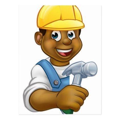 Builder Carpenter Cartoon Postcard Construction Business Diy