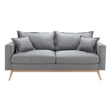 Duke Scandinavian 3 Seater Light Grey Sofa Gray Sofa Fabric Sofa