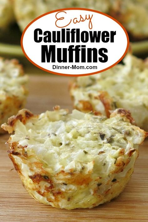 Easy Cauliflower muffins have just 5 ingredients and are quick to make! Enjoy them for a low-carb breakfast or snack. #cauliflowermuffins