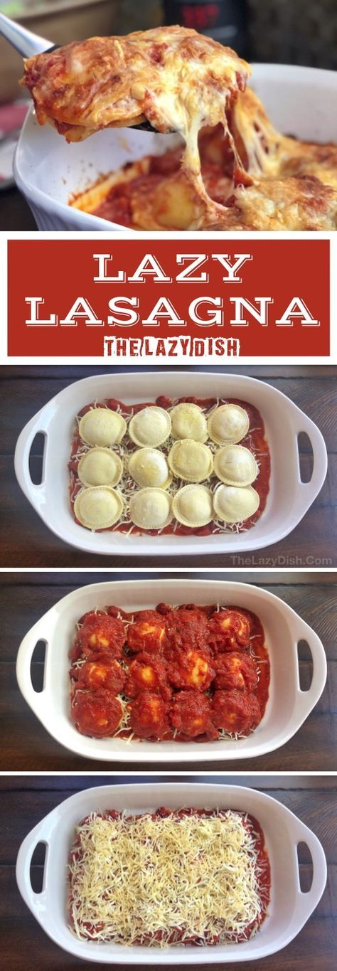 Lazy Lasagna (Just 3 Ingredients!) - The Lazy Dish 3 Zutaten gebackene Ra., Lazy Lasagna (Just 3 Ingredients!) - The Lazy Dish 3 Zutaten gebackene Ra. Lazy Lasagna (Just 3 Ingredients!) - The Lazy Dish 3 Zutaten gebackene Ra. Quick Meals To Make, Food To Make, Easy Meals For Dinner, Ravioli Dinner Ideas, Healthy Quick Dinners, Dinner Ifeas, One Dish Dinners, Cook Dinner, Roast Dinner