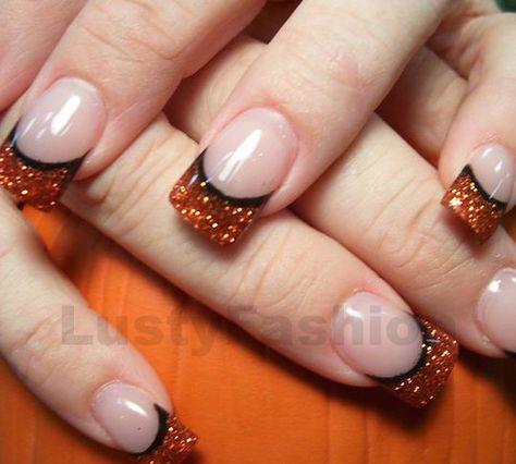 black and orange acrylic nail art designs