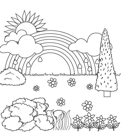 Krajina S Duhou Dibujos Para Colorear Paisajes Dibujos Para