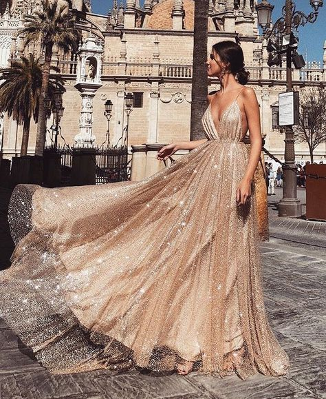 A Line V Neck Backless Champagne Long Sparkling Prom Dresses, Champagne Prom Gown, Formal Dresses Straps Prom Dresses, Gold Prom Dresses, V Neck Prom Dresses, Prom Outfits, Tulle Prom Dress, Ball Dresses, Ball Gowns, Evening Dresses, Strapless Dress