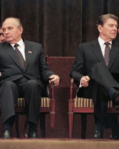 Mikhail Gorbachev And Ronald Reagan Face Away From Each Other At