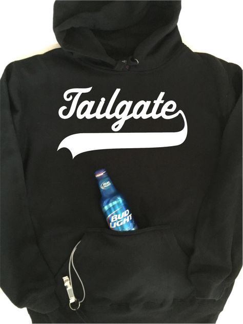 Tailgate hoodie with built in neoprene koozie and bottle opener!  Now you can open your beer and keep it cold too.  Great for Pregame tailgating for football, baseball, soccer, basketball, hockey, lacrosse.    https://www.etsy.com/listing/462125776/tailgate-hoodie-with-built-in-neoprene