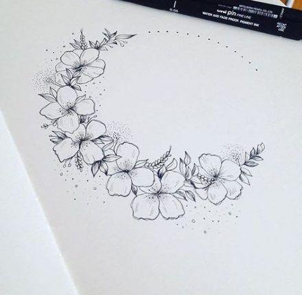 17 Ideas Flowers Crown Tattoo Inspiration Moon Tattoo Flower Tattoos Flower Crown Drawing