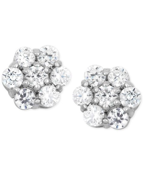 ad2bf1cd4 Wrapped in Love Diamond Cluster Flower Stud Earrings (1/2 ct. t.w.) in 14k  White Gold