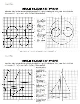 Transformations Practice Emojis Translate Reflect Rotate And Dilate Transformation Geometry Transformations Math Translation Geometry