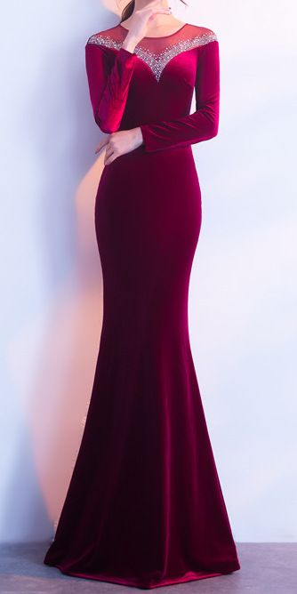 Dark Red Sequin Long Tight Fishtail Dress Stunning In 2020 Dinner Dress Classy Red Evening Dress Fitted Dress Classy