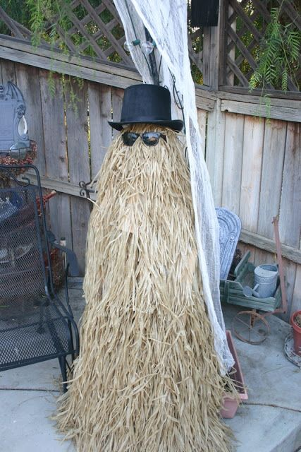 Hula skirt, hat and sunglasses from Dollar Store - put the skirt over a tomato cage - voila! You have Cousin It, from the Addams Family!!!