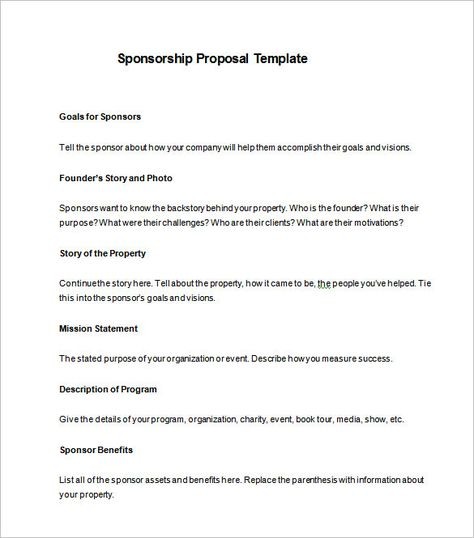 Sponsorship Proposal Template Free Word Excel Pdf Format Sample