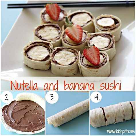 This Banana and Nutella Sushi is the ultimate yummy snack and it is so easy to make. Use a Tortilla Base, smother in Nutella add your bana. Healthy Afterschool Snacks, Healthy Afternoon Snacks, Lunch Snacks, Healthy Summer Snacks, Best Protein Snacks, Healthy Snack Foods, Summer Kids Snacks, Healthy Snaks, Healthy Mummy