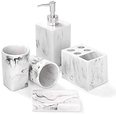 Amazon Com Bathroom Accessories Set 5 Piece Marble Complete Bathroom Set For Bath Decor Includes Toothbrush Holder Soap Dispenser Soap