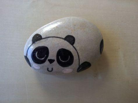 Loukoumiaou Peinture Sur Galets 2 Petit Panda Peinture Sur Galet Artisanat En Pierre Roches Peintes A La Main