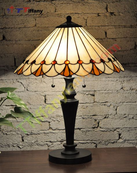 Light Pink Stained Glass Conch Shell Nautical Lamp