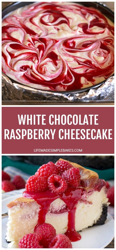 This white chocolate raspberry swirled cheesecake is rich, creamy and sits on top of an Oreo cookie crust. It's one decadent dessert! #whitechocolateraspberryswirledcheesecake #raspberrycheesecake #whitechocolatecheesecake #cheesecake #swirledcheesecake