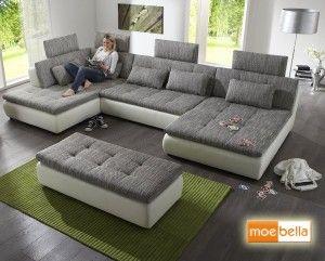 Details Zu Wohnlandschaft Claudia XXL Ecksofa Couch Sofa Mit Hocker Schwarz Und Graubeige