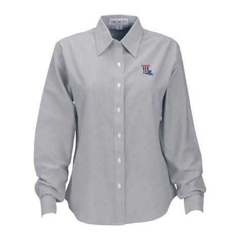 Louisiana Tech Bulldogs Women s Velocity Oxford Plus Size Button-Up Long  Sleeve Shirt – Gray c21d18daf