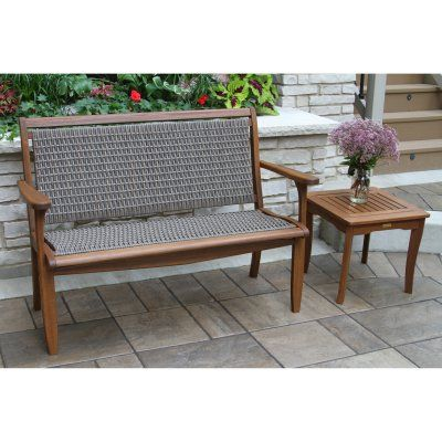 Sensational Outdoor Interiors Outdoor Wicker Bench With Side Table Squirreltailoven Fun Painted Chair Ideas Images Squirreltailovenorg