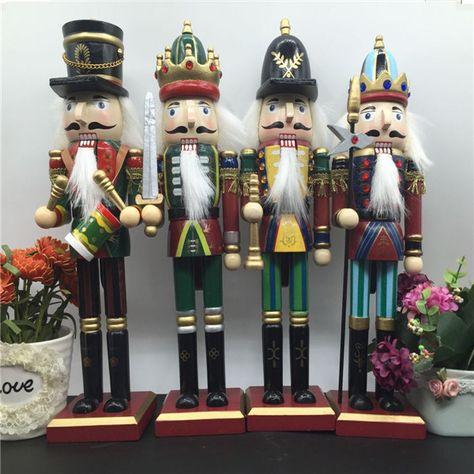 30cm Wooden Nutcracker Doll Soldier Vintage Handcraft Decoration Christmas Gifts